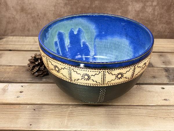 Windy Hill Pottery - Blue Black Serving Bowl