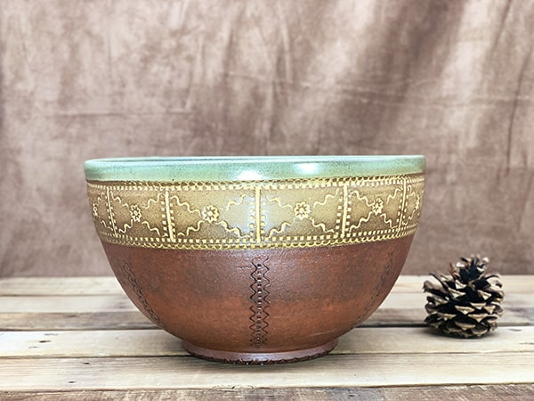 Windy Hill Pottery - Green Red Serving Bowl