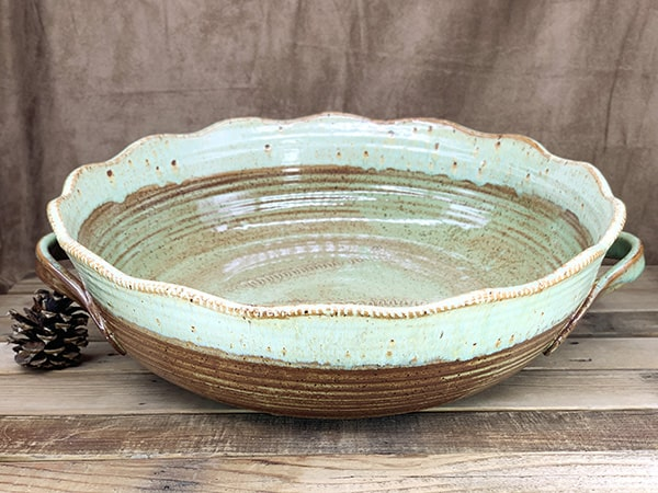 Windy Hill Pottery - Large Green Handle Serving Bowl