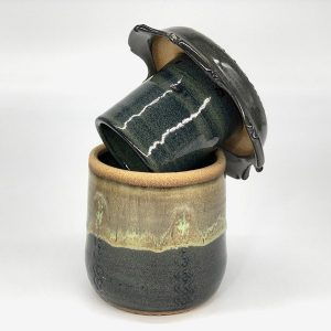 Butter Crock Black Forest with open lid