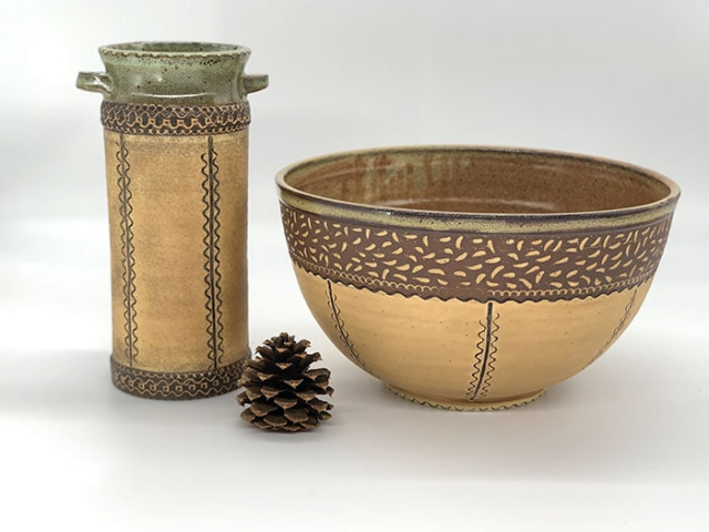 Windy Hill Pottery - tooled vase and bowl
