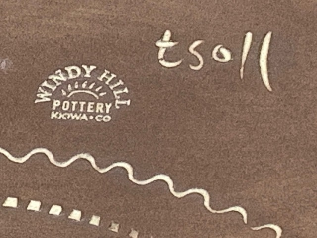 Tim Ingersoll's Tsoll Signature on the bottom of a Windy Hill Pottery Piece